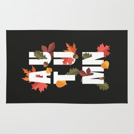 Autumn word and leaves WHITE Rug