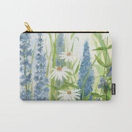 Watercolor Botanical Garden Flower Wildflower Blue Flower Garden Carry-All Pouch