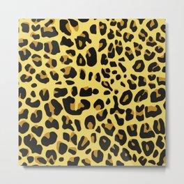 Hipster black yellow brown leopard animal print Metal Print