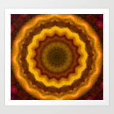 Lovely Healing Mandalas in Brilliant Colors: Pink, Yellow, Gold, and Bronze Art Print