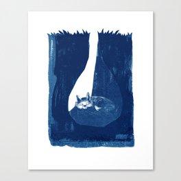 Fox in a burrow Canvas Print