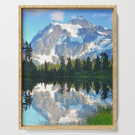 SUNNY DAY AT PICTURE LAKE MOUNT SHUKSAN Serving Tray