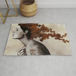 Moral Eclipse I: Rust | moth tattoo woman portrait Rug