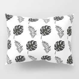 black and white tropical leaves Pillow Sham