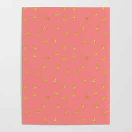 Modern chic pastel coral faux gold glitter stars pattern Poster