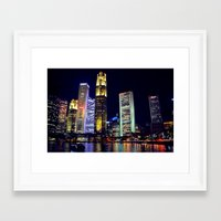 singapore Framed Art Prints featuring Singapore Skyline by Mark Bagshaw Photography