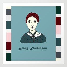 Emily Dickinson, hand-drawn portrait Art Print