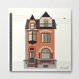Brick Victorian House Illustration Metal Print