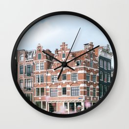Summer in Amsterdam, Holland || Cityscape travel photography in light colors Wall Clock