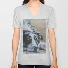 Border Collie dog portrait art from an original painting by L.A.Shepard Unisex V-Neck