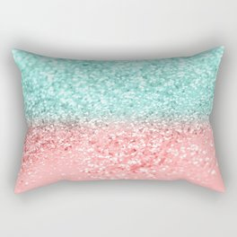 Summer Vibes Glitter #1 #coral #mint #shiny #decor #art #society6 Rectangular Pillow