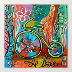 Onward-Whimsical Tricycle Painting Canvas Print