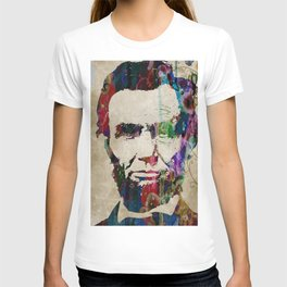 Abraham Lincoln Watercolor Modern Abstract GIANT PRINT ART T-shirt