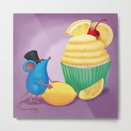 Mr. Bluemouse and a Lemon Cupcake Metal Print