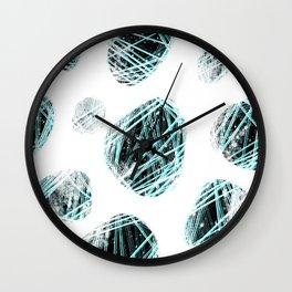 cosmic stones / black & aqua Wall Clock