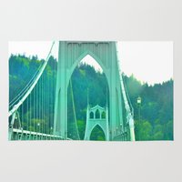 marc johns Area & Throw Rugs featuring St. Johns Bridge Portland Oregon by Teresa Chipperfield Studios