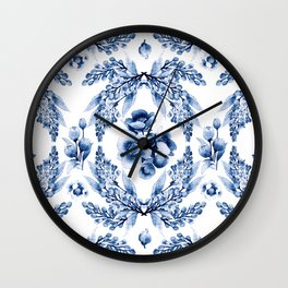 Florals blue & white pattern with beetles Wall Clock