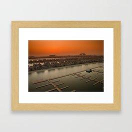 sunset over palm jumeirah Framed Art Print