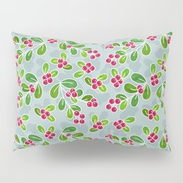 Cranberry Fruit Pattern on Blue-Grey Pillow Sham