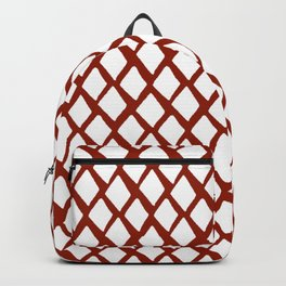 Rhombus White And Red Backpack