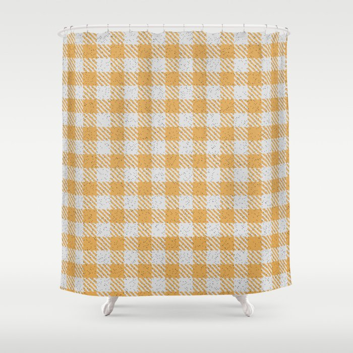 Indian Yellow Buffalo Plaid Shower Curtain By Detnecs