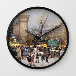 Paris Porte Saint-Denis, Paris, France by Eugene Lalien Laloue Wall Clock