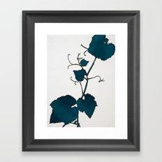 Teal Grape Leaves Framed Art Print