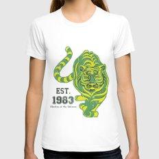 Battlecat - HeMan, 80's, Cartoon, Throw Back, Green Tiger Womens Fitted Tee White MEDIUM