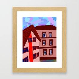 дома напротив Framed Art Print