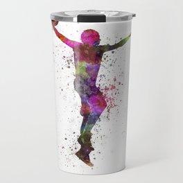 young man basketball player dunking Travel Mug