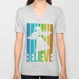 Believe UFO Alien Unisex V-Neck