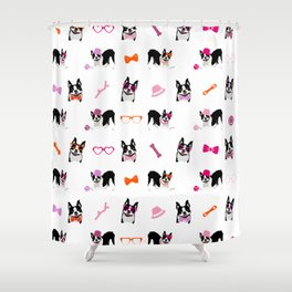 Boston Terriers Pattern Pink Shower Curtain