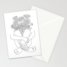Bouquet - Line Art Stationery Cards