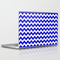 chevron Laptop & iPad Skins featuring Chevron (Blue/White) by 10813 Apparel