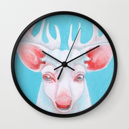 Portrait of a White Stag Wall Clock