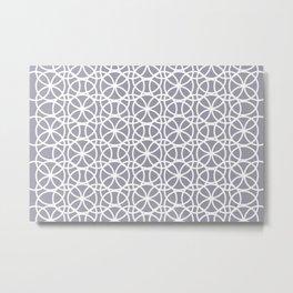 Pantone Lilac Gray and White Rings Circle Heaven, Overlapping Ring Design Metal Print