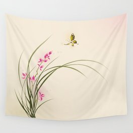Oriental style painting - orchid flowers and butterfly 004 Wall Tapestry