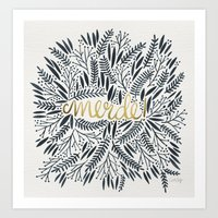 french Art Prints featuring Pardon My French – Black & Gold by Cat Coquillette