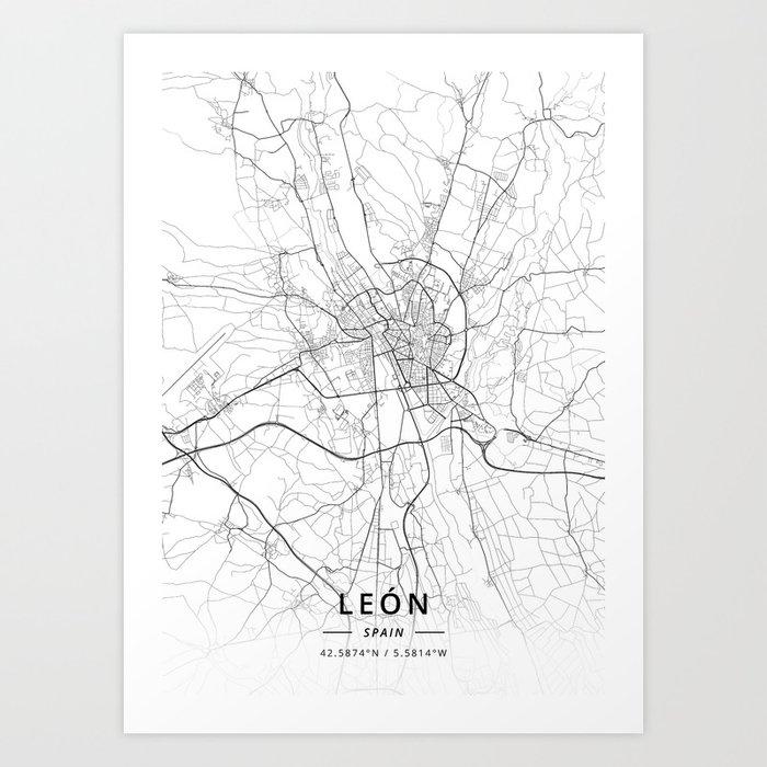 Map Of Spain Leon.Leon Spain Light Map Art Print By Designermapart