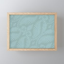 Fancy Light Blue Leaves Scroll Damask on Dark Turquoise Framed Mini Art Print