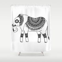 henna Shower Curtains featuring Henna Elephant by Julie Erin Designs