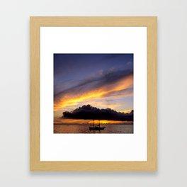 Tahiti Tropical Sunset over Sailboat Framed Art Print