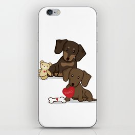 Valentine's Day Love Daschund Illustration iPhone Skin