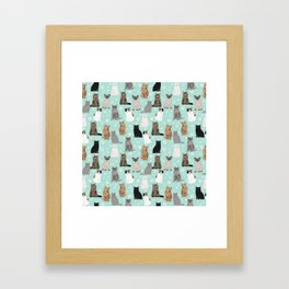 Cat snowflakes catsmas winter holiday pattern print pet portraits cat breed gifts Framed Art Print