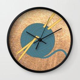 Knitting Illustration Wall Clock