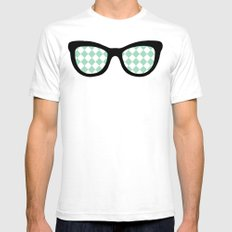 Mint Diamond Eyes SMALL Mens Fitted Tee White