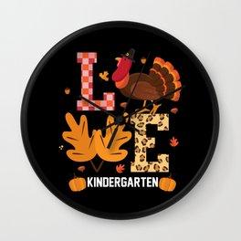 Kindergarten Turkey Thanksgiving Fall Teacher Wall Clock