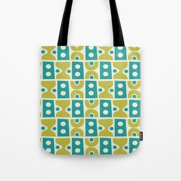 Funky Mid Century Modern Pattern 773 Turquoise and Chartreuse Tote Bag