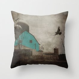 Rustic Teal Barn Country Art A158 Throw Pillow