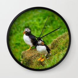The Puffins of Mykines in the Faroe Islands II Wall Clock